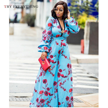 Floral Rompers Womens Jumpsuit Party Sexy Trousers Female Elegant Long Jumpsuits Blue Boho For Women