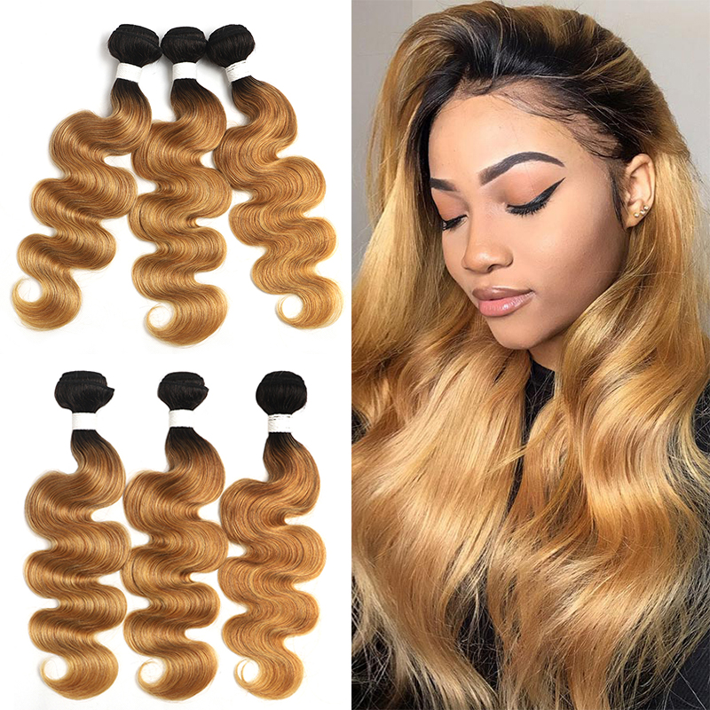 T1B/27 Ombre Brazilian Body Wave Hair Bundles 8-26 Inch Honey Blonde Human Hair Extension 3/4 PCS Non-Remy Hair Weave Bundles