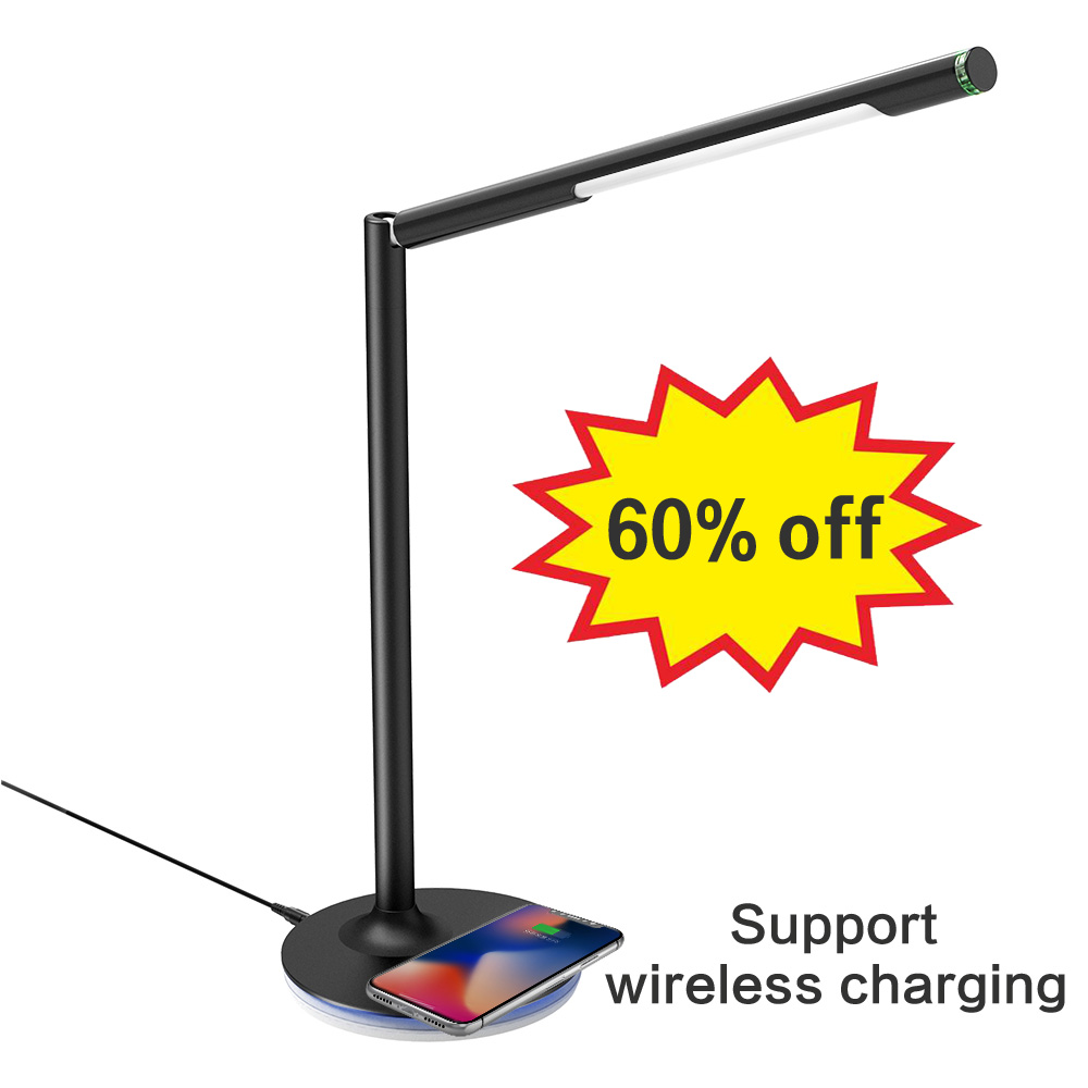 Lámpara de escritorio Brilex, lámpara de mesa, iluminación táctil, carga inalámbrica ajustable para iPhone X Xr Xs Max Samsung Galaxy Huawei.