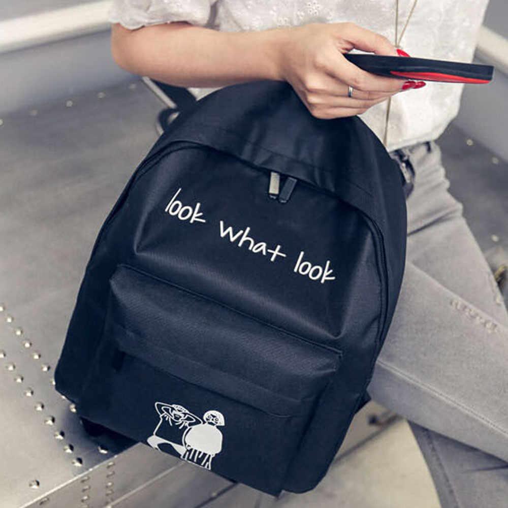 โรงเรียนกระเป๋าสะพายผ้าใบสาวกระเป๋าเป้สะพายหลังจดหมาย look what look พิมพ์น่ารัก Unisex Satchel Back Pack วัยรุ่น rucksack นักเรียน #22