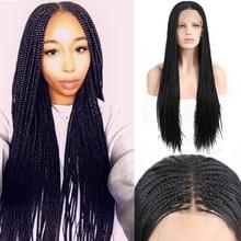 Харизма 13X6 Кружева Часть плетеные парики для Для женщин синтетический Синтетические волосы на кружеве парик Средняя часть микро бокс косы синтетические Жаростойкие накладные волосы