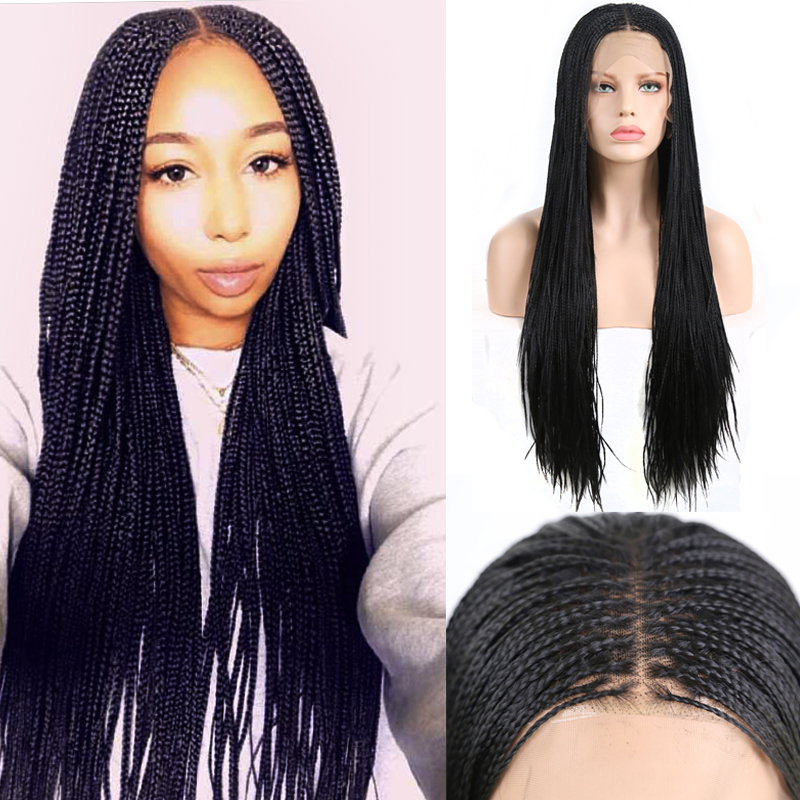 Charisma 13X6 Lace Part Braided Wigs For Women Synthetic Lace Front Wig Middle Part Micro Box Braids Wigs Heat Resistant Hair