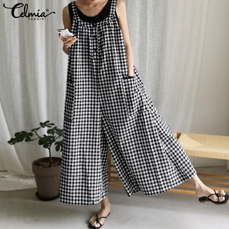 Women Plaid Rompers Casual Loose Pockets Jumpsuits 2020 Celmia Ladies Sleeveless Straps Playsuits Plus Size Wide Leg Pants S-5XL