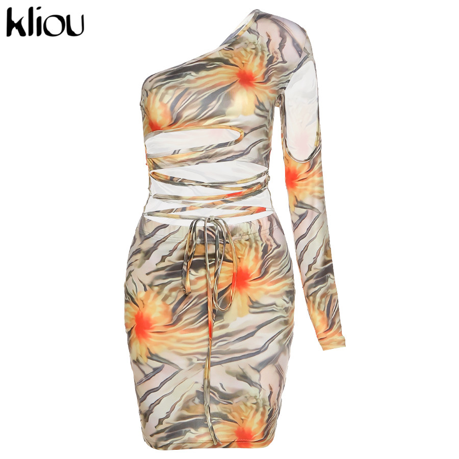 Kliou Lace Up Floral Print Mini Dresses Women Bandage One Shoulder Sexy Skinny Bodycon Clubwear Female Fashion Outfits 2020 Hot 7
