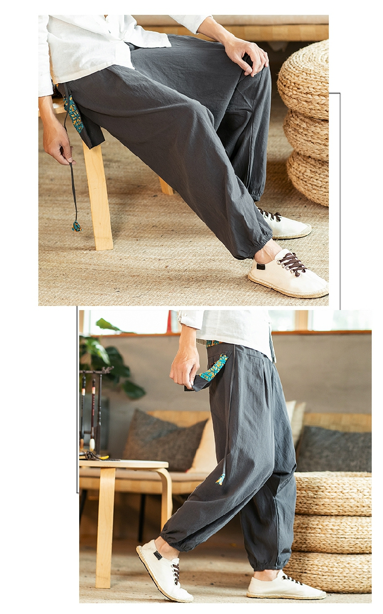 Sinicism Store Chinese Cross-Pants Men 2020 Autumn Oversize Fashion Mens Patchwork Button Pants Male Wide-legged Loose Pants 59