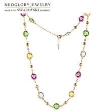 Neoglory Кристалл Красочные Круглые бусины длинное ожерелье очарование Классический два использования платье Вечерние, украшенные кристаллами Swarovski