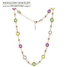 Neoglory cristal colorido contas redondas charme longo colar clássico dois usos vestido festa embelezado com cristais de swarovski