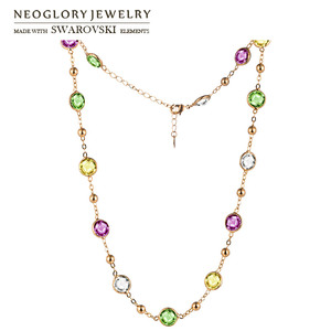 Image 1 - Neoglory 크리스탈 다채로운 라운드 비즈 긴 매력 목걸이 클래식 두 사용 드레스 파티 스와 로브 스키에서 크리스털로 장식