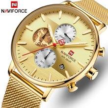 NAVIFORCE גברים שעון האופנה קוורץ שעוני יוקרה מותג נירוסטה הכרונוגרף שעוני יד גברים Waterproof אנלוגי זכר שעון