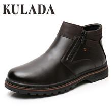 KULADA najnowsze buty zimowe mężczyźni trzewiki na śnieg wysokiej jakości ręcznie odkryte buty do pracy w stylu Vintage mężczyźni ciepłe buty zimowe tanie tanio Buty śniegu CN (pochodzenie) ANKLE Stałe Dla dorosłych Pluszowe Plush Okrągły nosek Zima Med (3 cm-5 cm) M3031-1A M3031-1B