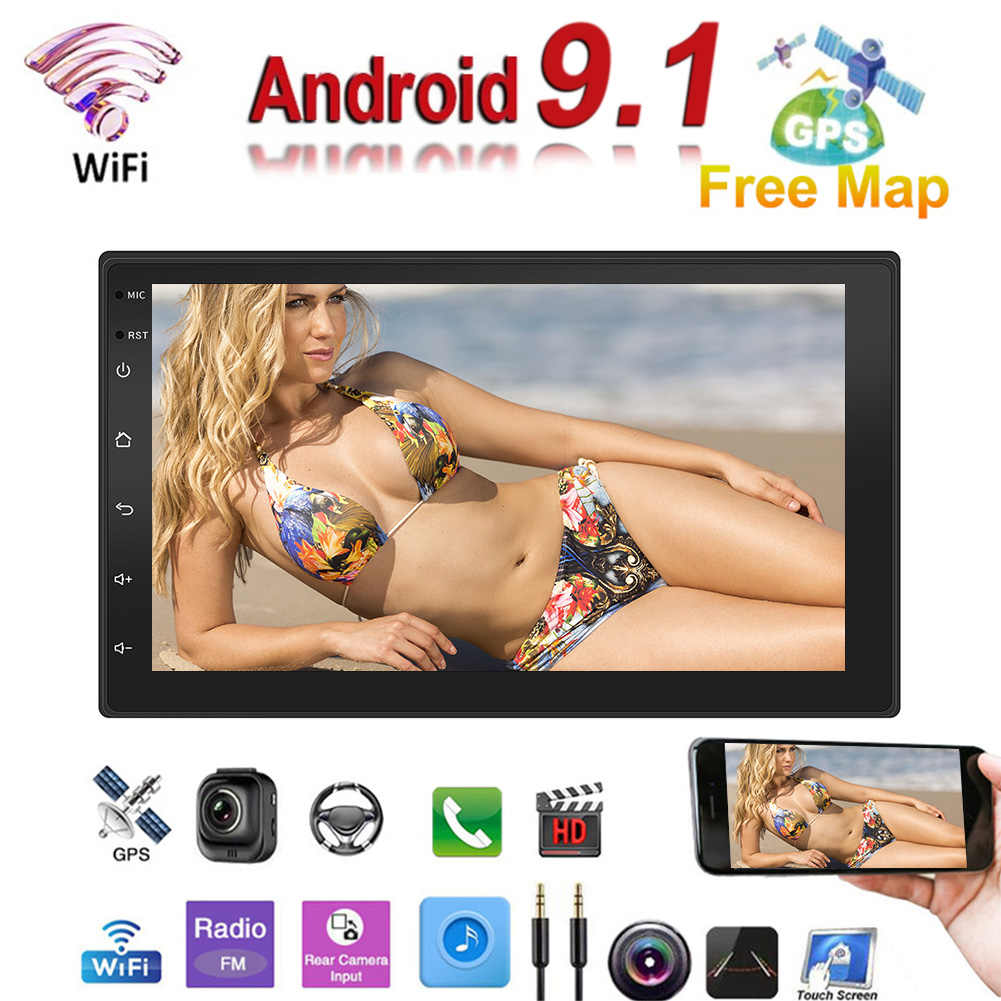 2 Din Android 9.1 Car Radio Mobil Multimedia Player MP5 Player GPS Navigasi Sentuh Layar Mobil Stereo Bluetooth MP5 Pemain
