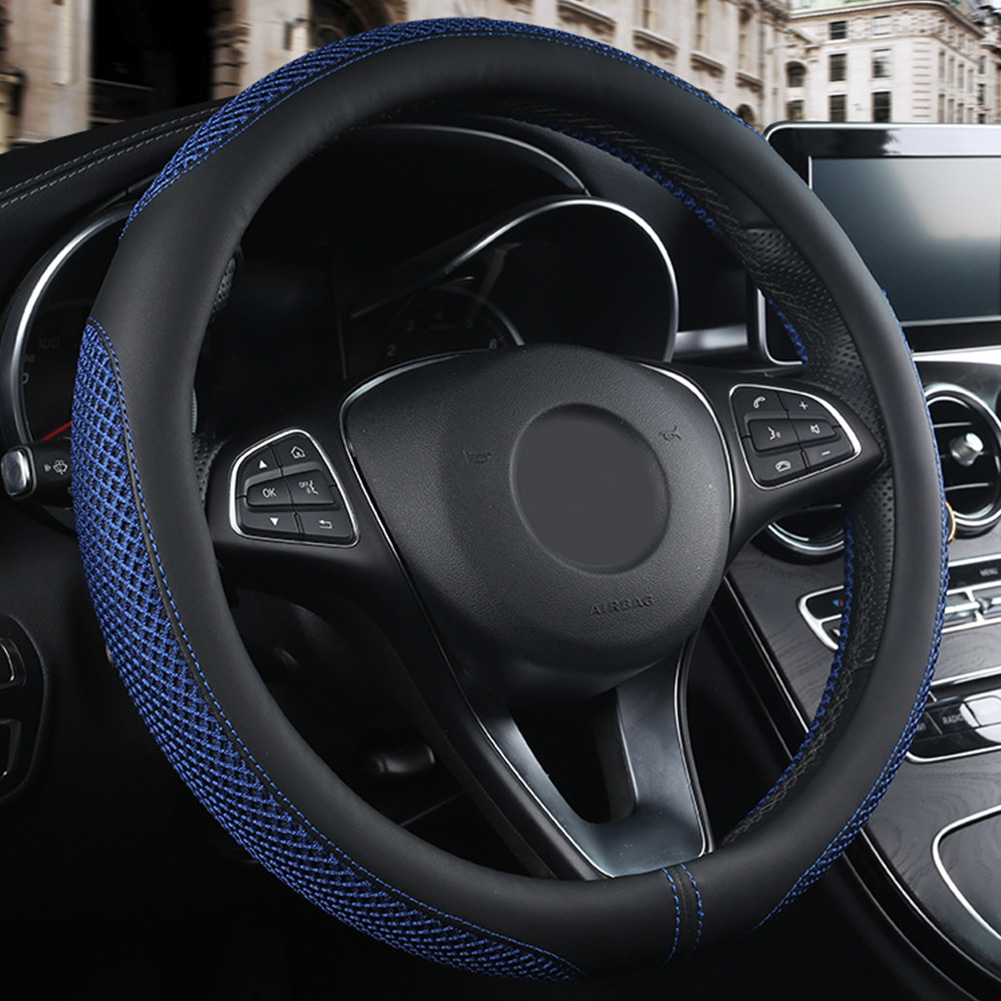 38cm Breathable Anti Slip Interior Styling Artificial Leather Car Universal Fit Protector Steering Wheel Cover Wear Resistant