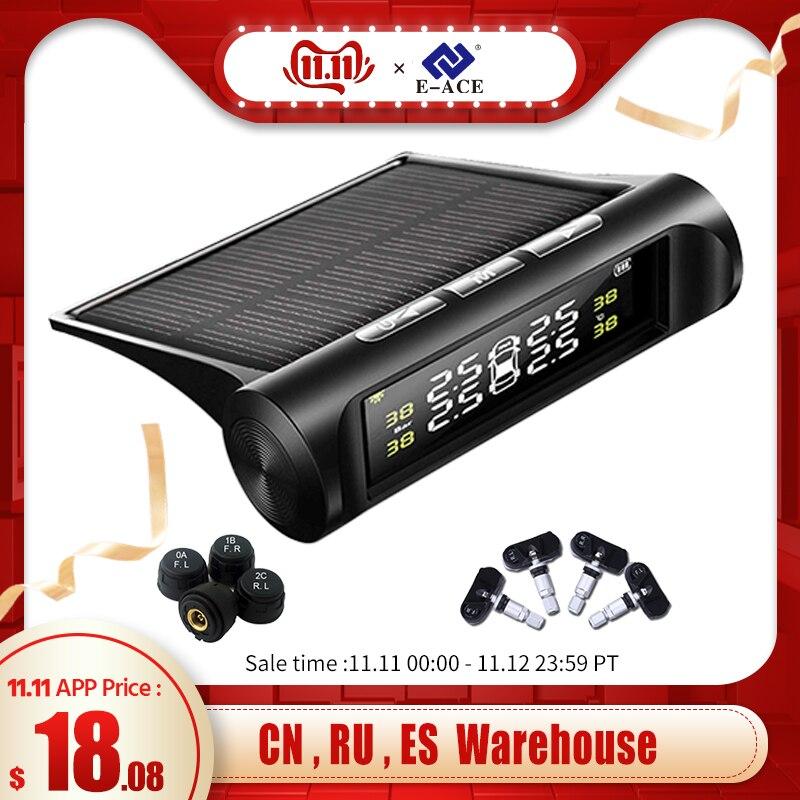 E-ACE energia solar tpms pressão dos pneus do carro sistema de alarme monitor alarme segurança automática pneus pressão temperatura aviso