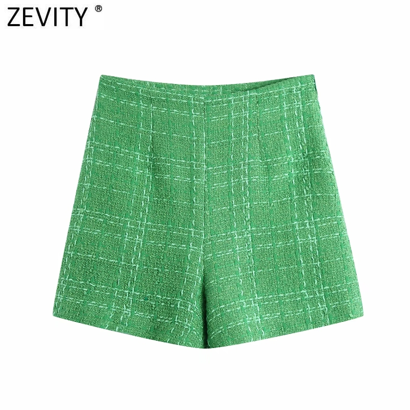 Zevity-Bermudas de lana de Tweed de Color verde para mujer, pantalones Cortos, faldas con cremallera lateral, elegantes e informales, P1024
