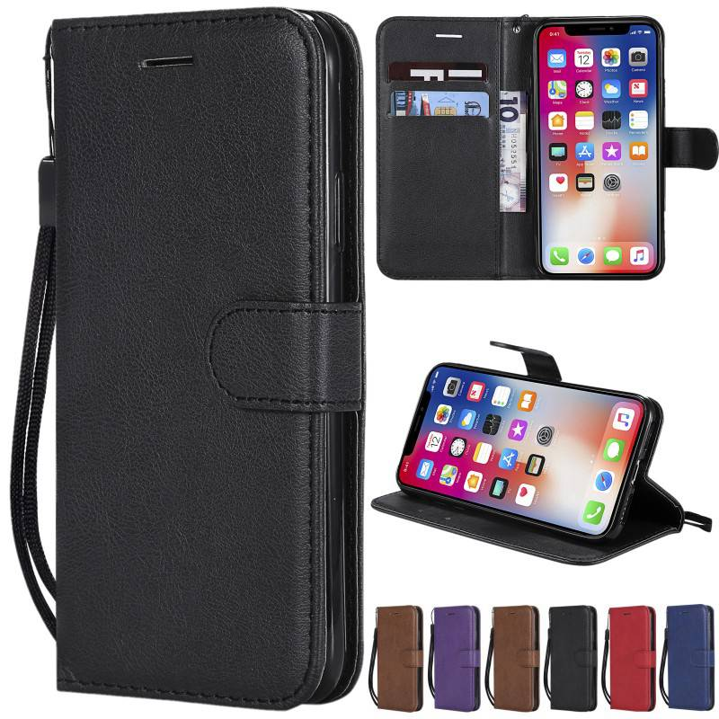 Soft Feel Flip Leather Wallet Phone Case Card Slots Stand W/Lanyard For iPhone 5 5S SE 6/6S/7/8 Plus X XS Max XR