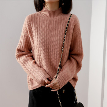 Cashmere sweater female half-high collar knit cashmere sweater solid color casual fashion pullover long-sleeved wool coat female