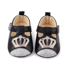 Newborn princess Crown baby shoes softs PU kids infant toddler shoes