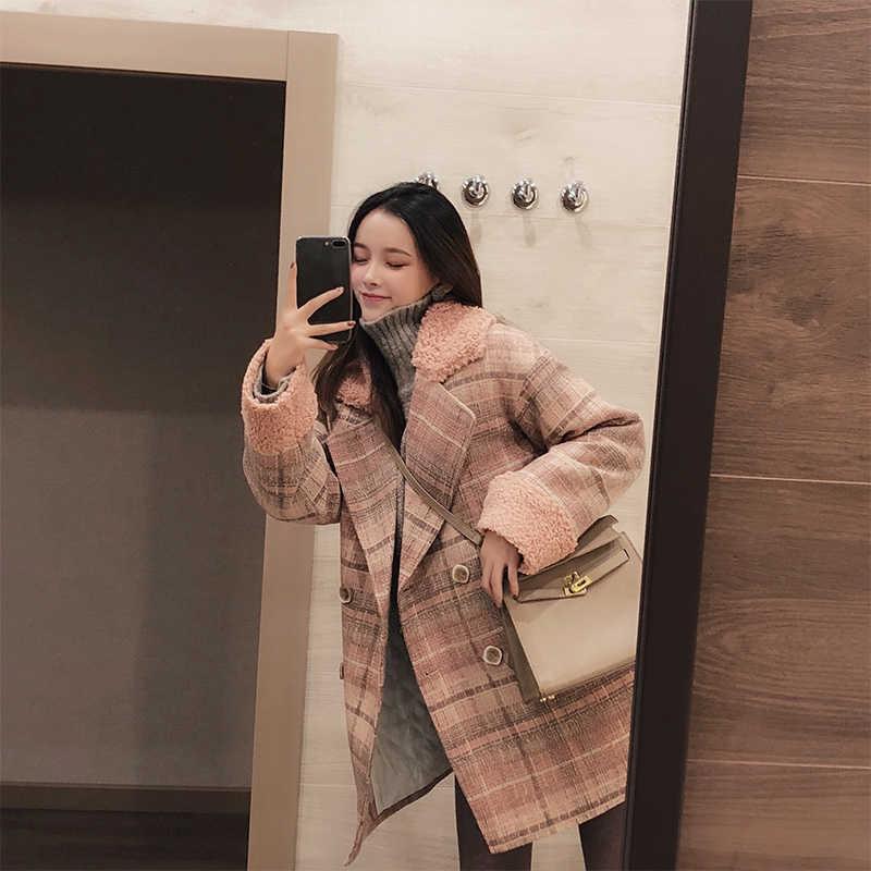 Mishow 2019 outono inverno xadrez casaco de lã nova moda causal feminino turndown colarinho longo rosa casaco mx18d9678