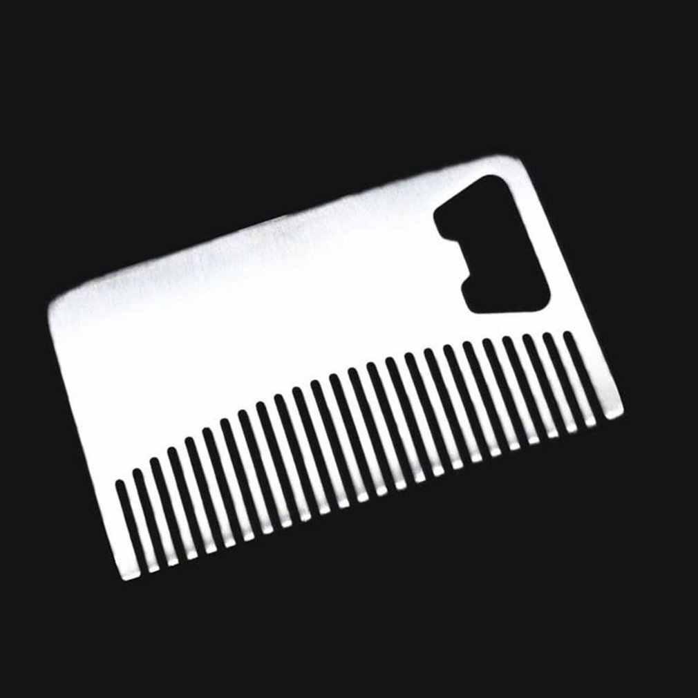 Metalowe do włosów i grzebień do brody z otwieraczem do butelek uniwersalny rozmiar karty kredytowej narzędzie do portfela i kieszeni