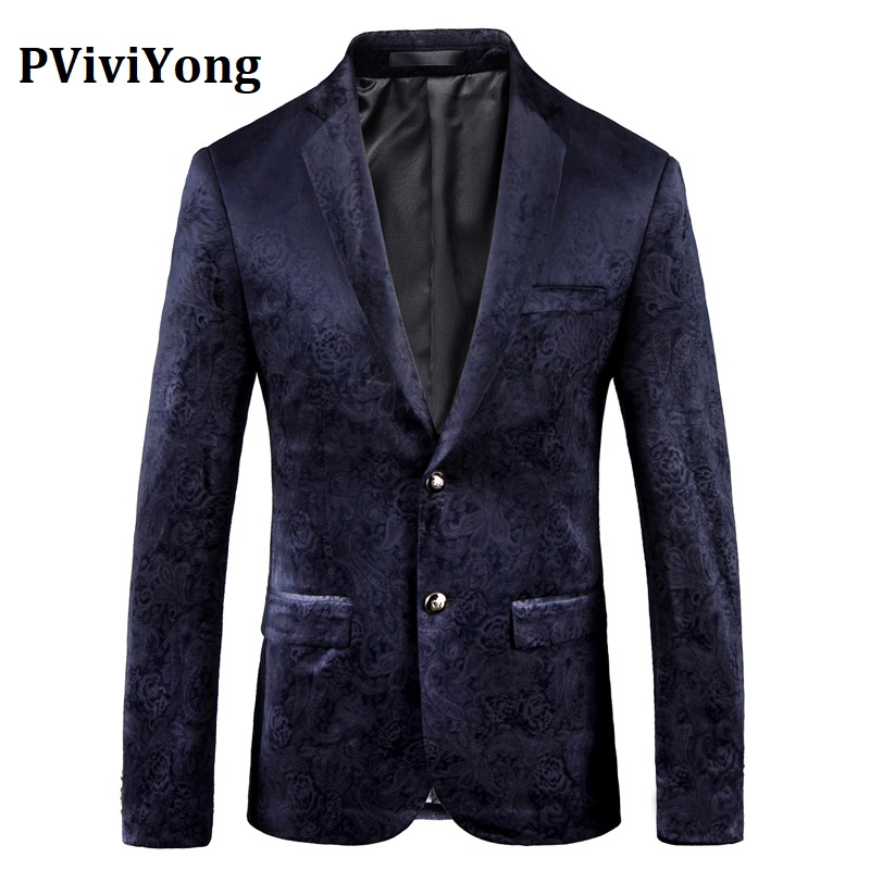 PViviYong Brand 2019 High Quality Suit Top For Men,men Blazer British Style Navy Blue Suit Men Slim Fit Suit Jacket Men 9005