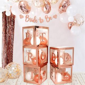 Image 3 - HUIRAN свадебное украшение из розового золота в прозрачной коробке, Свадебный декор для свадьбы помолвка, вечерние аксессуары для вечеринки, девичника вечерние принадлежности