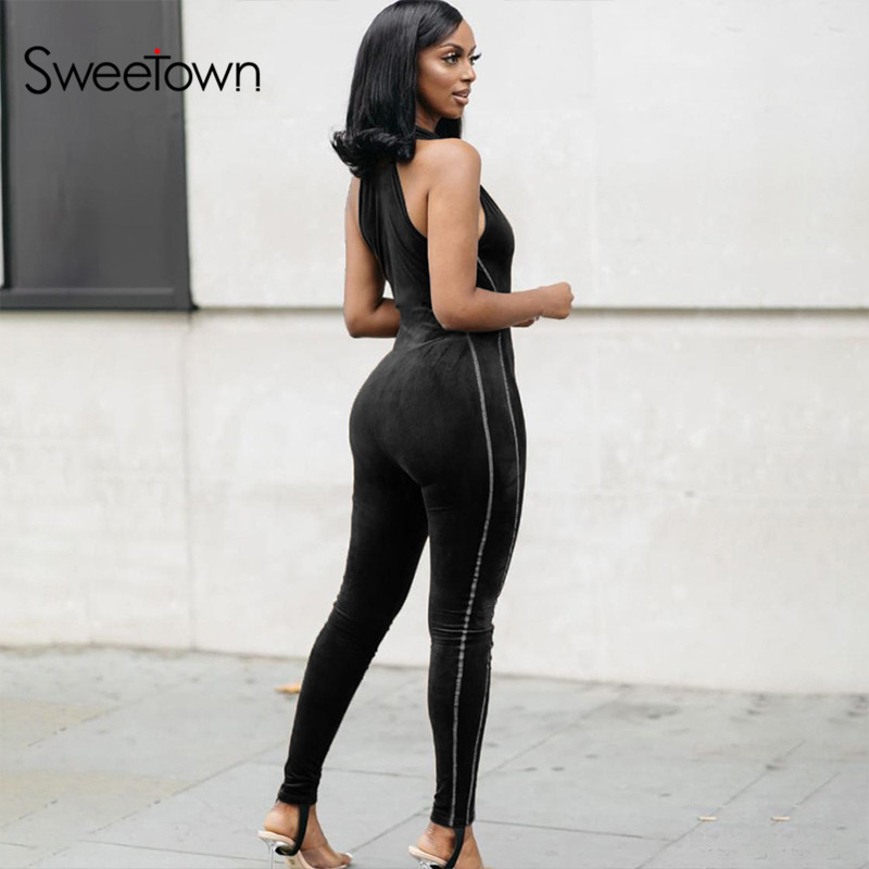 Sweetown Off Shoulder Sexy Rompers Womens Jumpsuit Fitness Activewear Side Striped Patchwork Body Mujer Bodycon Bodysuits 2020