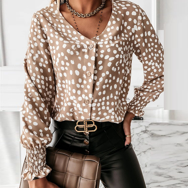 Elegant Polka Dot Ruffle blouse shirts Women Autumn Long Sleeve V-Neck Pullover Tops Office Lady Casual Button Plus Size blusa 4