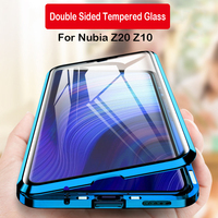 360 Full Magnetic Case For ZTE Nubia Z10 Coque Double Sided Tempered Glass Cover Metal Aluminum Bumper For Nubia Z20 NX627J Case Phone Bumpers     -