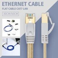 TSYH-Cable Ethernet Cat7 Lan, Cable plano UTP CAT 7, Cable de red RJ 45, 30cm, 50cm, para ordenador portátil, color azul y negro