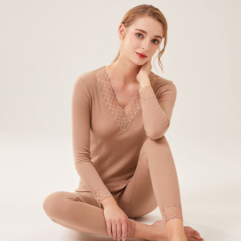 Women Autumn Winter Wool Long Johns 82%Wool 18%Silk Lace V neck Solid Knitted Thermal Underwear 2019
