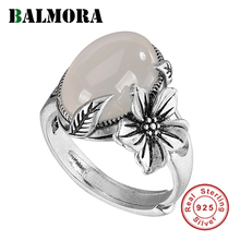BALMORA Real 990 Pure Silver Chalcedony Flower Open Stacking Ring for Women Mother Lover Retro Statement Fashion Jewelry Anillos
