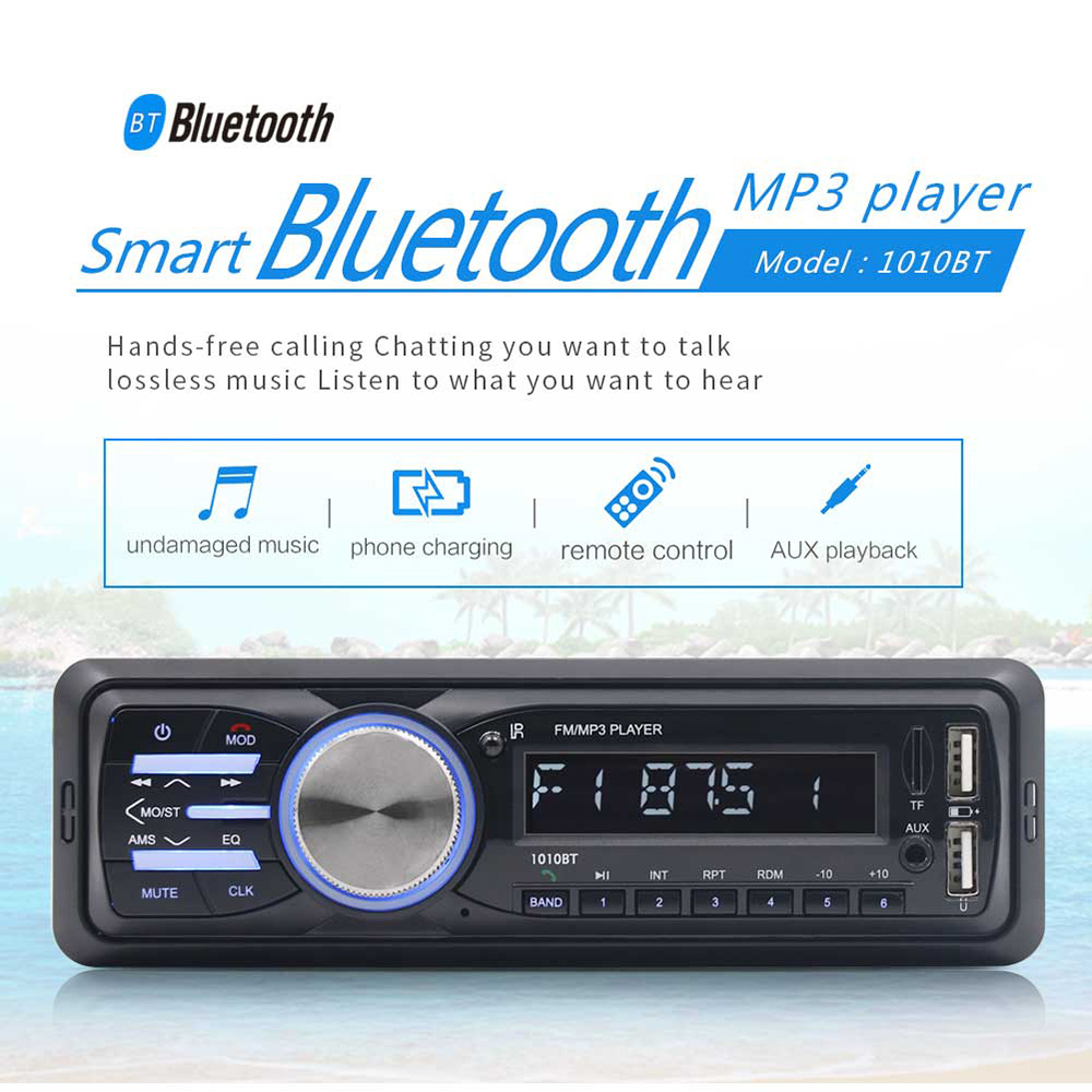 RS-1010BT 1 Din Bluetooth Vehicle Car MP3 Player Stereo Audio Player With FM Radio AUX SD Card U Disk Play LCD Remote Control