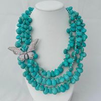 19 3 Strands Turquoise Necklace CZ Pave Butterfly Connector