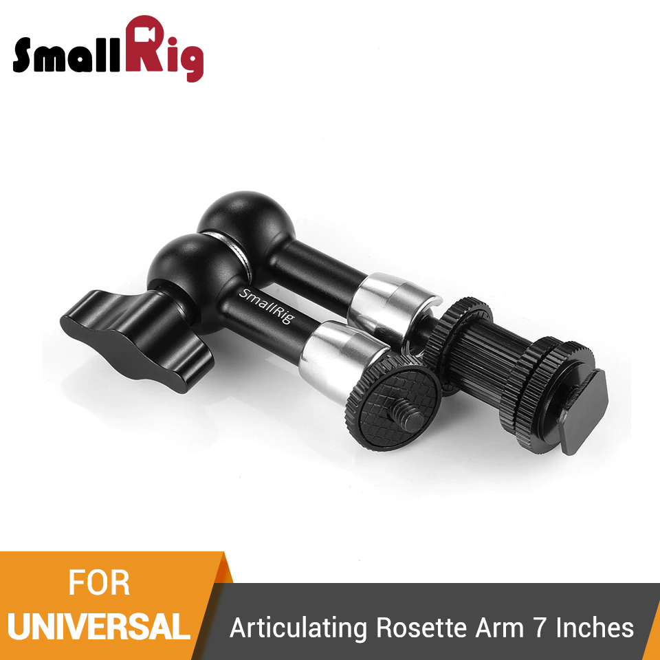 1497 SMALLRIG Articulating Rosette Arm Max 7 Inches Long with Cold Shoe Mount /& Standard 1//4-20 Threaded Screw Adapter