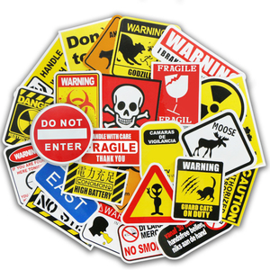 Image 3 - 50 Pcs Warning Signs Stickers for Laptop Motorcycle Luggage Bike Guitar Home Decor DIY Danger Banning Reminder Funny Sticker