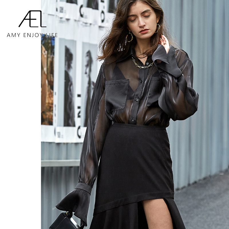 AEL black organza blouse long sleeve Retro top women Elegant Loose Womens Tops and Blouses fashion Female clothe