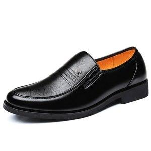 Image 1 - Large Size 46 Black formal shoes men Dress Shoes Genuine Leather shoes men Fashion Business Oxford Shoes for Men shoes leather