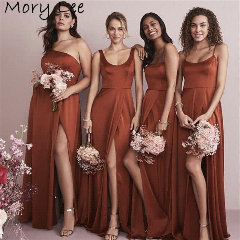 Hot Bridesmaid Dresses  A-Line Floor Length Sweep Train Side Slit Silk Satin Wedding Party Bridemaid Dresses