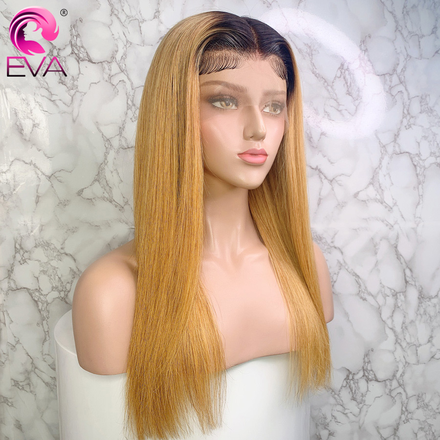 Eva 13x6 Blonde Lace Front Wig Straight Colored Ombre Lace Front Human Hair Wigs Pre Plucked With Baby Hair Brazilian Remy Hair