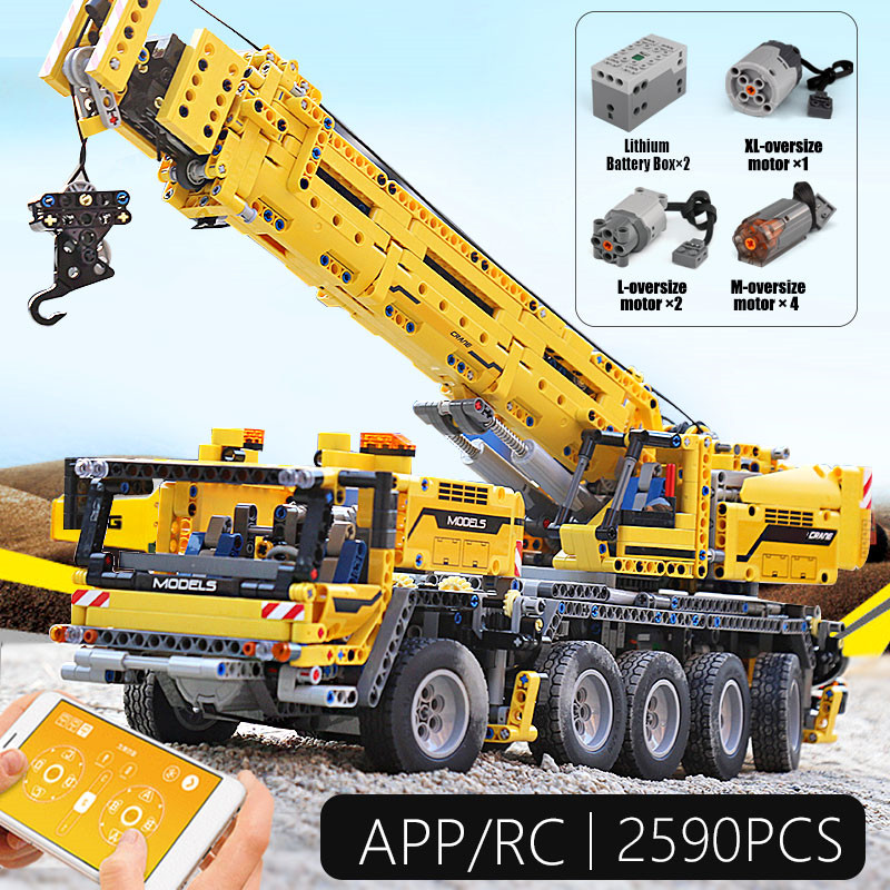 Technic App RC Motor Power Mobile Crane Mk II Compatible Legoed Technic 42009 20004 Building Blocks Bricks Gift Diy Toys
