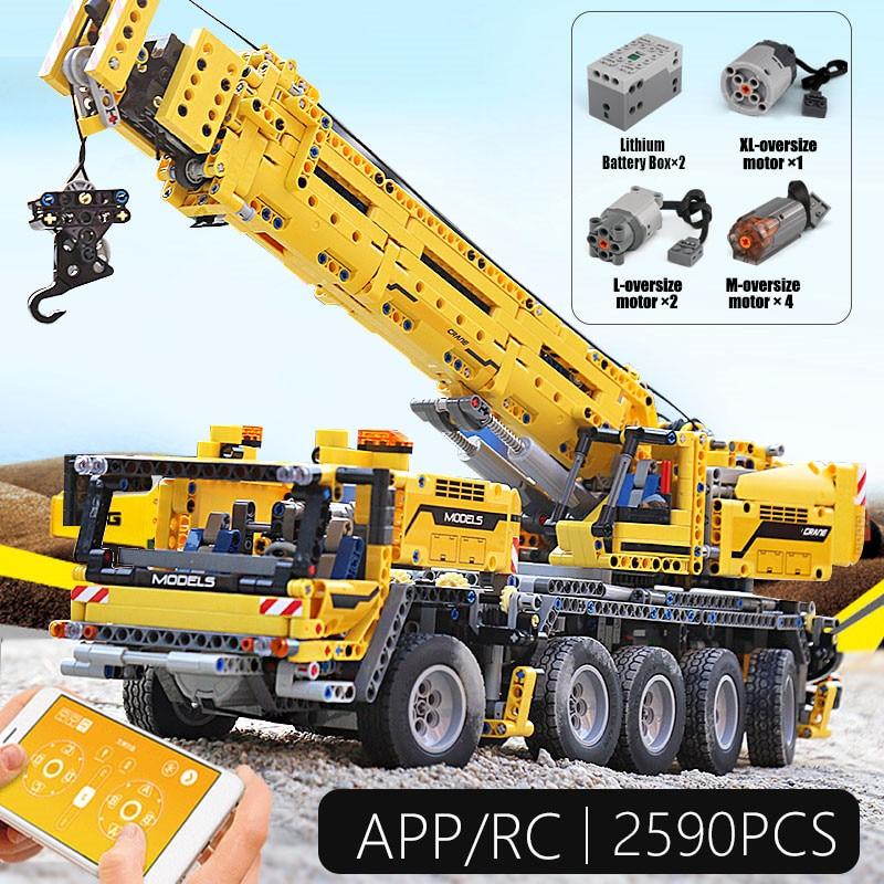 Technic App RC Motor Power Mobile Crane Mk II Compatible Lepin Technic 42009 20004 Building Blocks Bricks Gift Diy Toys