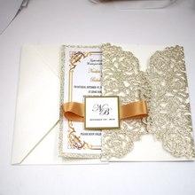 Free Shipping 1X Rose GOLD glitter Burgundy Wedding Invitation Card Laser cut Hollow wedding invitations Invite greeting cards