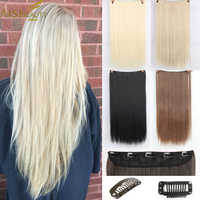 AISI BEAUTY Synthetic Clip in One Piece Hair Extensions Long Straight 5 Clips in Hairpiece 613 Black Blonde High Temperature