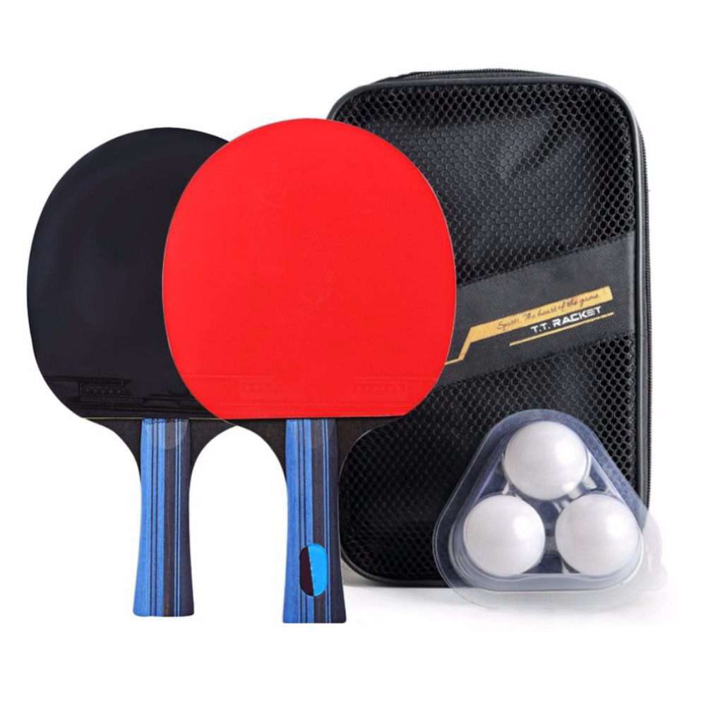 Professional Carbon Fiber Table Tennis Racket Blade Rubber With Double Face Pimples-in Ping Pong Rackets  -quality With Bag