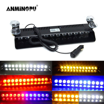 ANMINGPU Emergency LED Strobe Light Police for Car Truck Red Blue Amber White LED Flasher Beacon Warning Lamp Car Light Assembly 16 led red blue car police strobe flash light dash emergency 18 flashing light warning lamp white amber red blue yellow