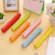 Pencil-Cases Stationery-Bag Supplie Canvas Zipper School Cute Fashion Small 1pcs