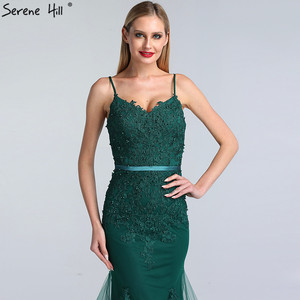 Image 5 - Serene Hill Green Sexy Sweetheart Lace Crystal Evening Dress 2020 Dubai Luxury Mermaid Formal Party Gown Real Photo CLA60712