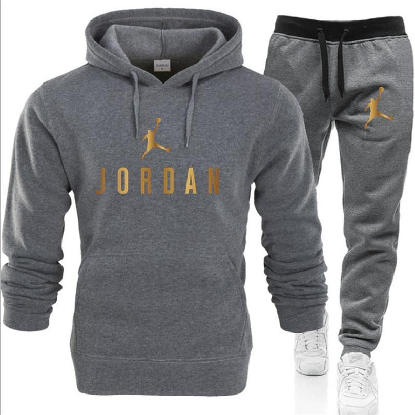 2-piece sportswear men's hooded sweatshirt + pants pullover hooded sportswear suit casual clothes size S-3XL