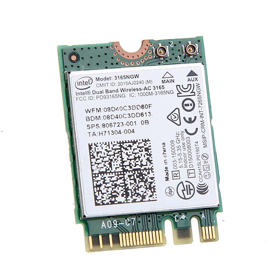 ntel 3165 <font><b>3165NGW</b></font> 3165AC Dual Band Wireless AC + Bluetooth4.0 Mini NGFF wifi card 802.11AC Wireless Wifi Card image