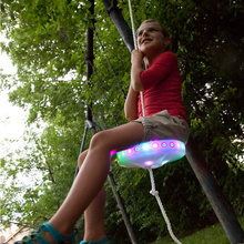 Swing-Set Disc-Flying Outdoor-Toys Zipline Kids with Saucer Led Slackers Night-Riderz